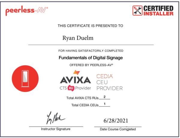Peerless AV Certification